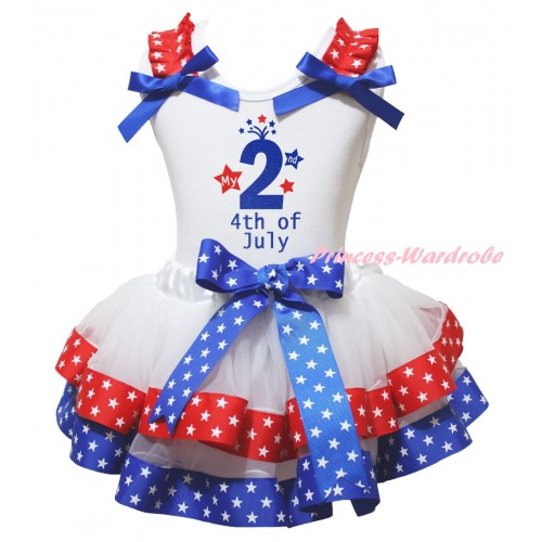 American's Birthday White Pettitop Red White Star Ruffles Royal Blue Bow & My 2nd 4th Of July Painting & Royal Blue Red White Star Trimmed Pettiskirt MG2983