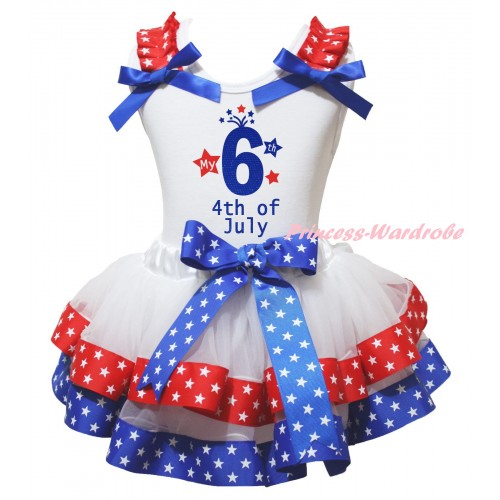 American's Birthday White Pettitop Red White Star Ruffles Royal Blue Bow & My 6th 4th Of July Painting & Royal Blue Red White Star Trimmed Pettiskirt MG2987