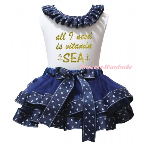 American's Birthday White Pettitop Dark Blue Anchor Lacing & Dark Blue Anchor Trimmed Pettiskirt & Sparkle Gold All I Need Is Vitamin Sea Anchor Painting MG2990