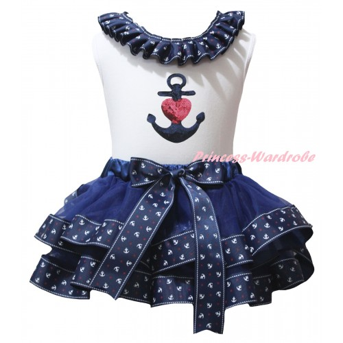 American's Birthday White Pettitop Dark Blue Anchor Lacing & Dark Blue Anchor Trimmed Pettiskirt & Sparkle Sequins Heart Anchor Print MG2992