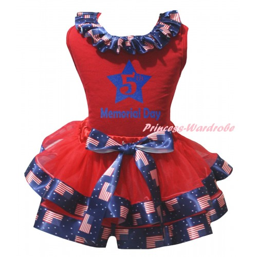 American's Birthday Red Pettitop Patriotic American Lacing & Red Patriotic American Trimmed Pettiskirt & Blue 5th Memorial Day Painting MG3001