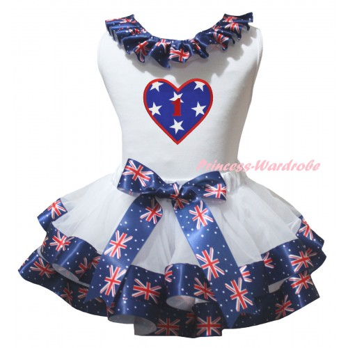 American's Birthday White Pettitop Patriotic British Lacing & White Patriotic British Trimmed Pettiskirt & American Star Heart 1st Birthday Number Print MG3025