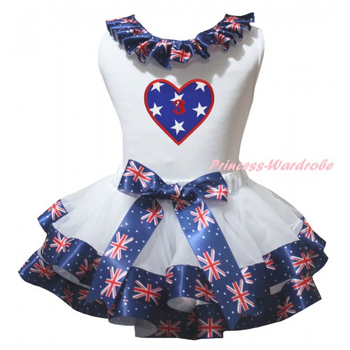 American's Birthday White Pettitop Patriotic British Lacing & White Patriotic British Trimmed Pettiskirt & American Star Heart 3rd Birthday Number Print MG3027
