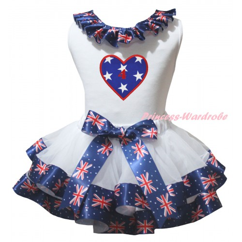 American's Birthday White Pettitop Patriotic British Lacing & White Patriotic British Trimmed Pettiskirt & American Star Heart 4th Birthday Number Print MG3028