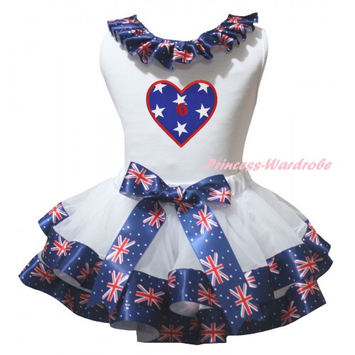 American's Birthday White Pettitop Patriotic British Lacing & White Patriotic British Trimmed Pettiskirt & American Star Heart 6th Birthday Number Print MG3030