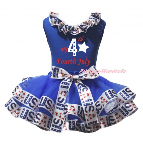 American's Birthday Blue Pettitop White USA Lacing & Blue White USA Trimmed Pettiskirt & My 4th Fourth July Painting MG3061