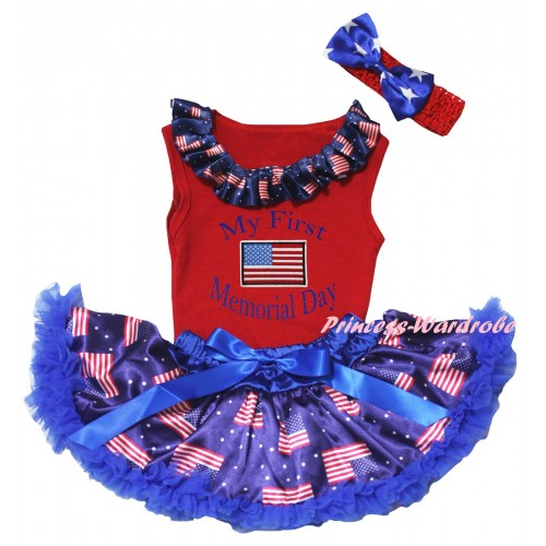 American's Birthday Red Baby Pettitop & Patriotic American Lacing & My First America Memorial Day Painting & Royal Blue Patriotic American Baby Pettiskirt NG2443
