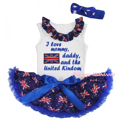 American's Birthday White Baby Pettitop & Patriotic British Lacing & Patriotic British Flag I Love Mommy, Daddy, And The United Kindom Painting & Royal Blue Patriotic British Baby Pettiskirt NG2444