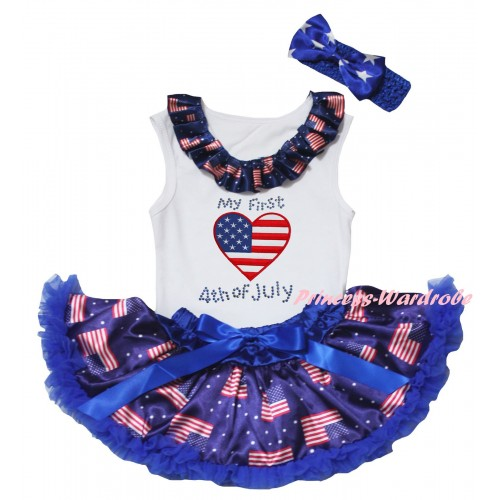 American's Birthday White Baby Pettitop & Patriotic American Lacing & Patriotic American Heart My 1st 4th of July Painting & Royal Blue Patriotic American Baby Pettiskirt NG2446