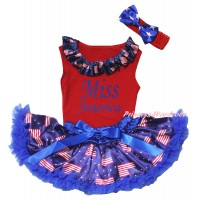 American's Birthday Red Baby Pettitop & Patriotic American Lacing & Blue Miss America Painting & Royal Blue Patriotic American Baby Pettiskirt NG2448