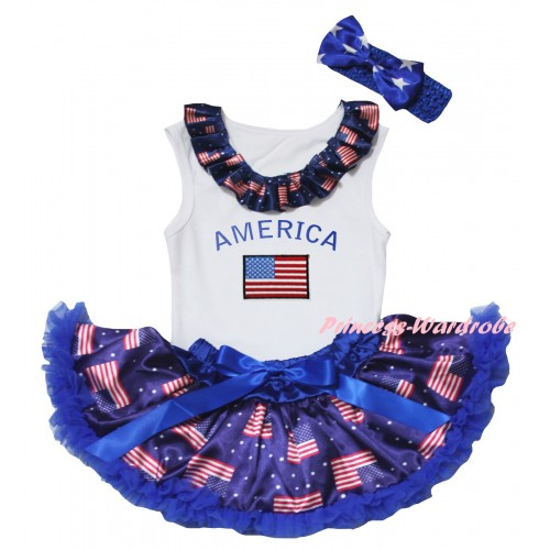American's Birthday White Baby Pettitop & Patriotic American Lacing & Patriotic America Flag Print & Royal Blue Patriotic American Baby Pettiskirt NG2457