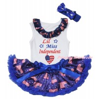 American's Birthday White Baby Pettitop & Patriotic American Lacing & Patriotic American Heart Lil Miss Independent Painting & Royal Blue Patriotic American Baby Pettiskirt NG2461