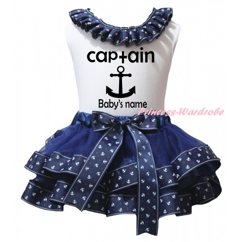 American's Birthday White Baby Pettitop Dark Blue Anchor Lacing & Dark Blue Anchor Trimmed Newborn Pettiskirt & Black Captain Anchor Baby's Name Painting NG2482
