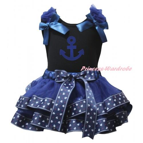 American's Birthday Black Baby Pettitop Dark Blue Ruffles Bows & Dark Blue Anchor Trimmed Newborn Pettiskirt & Blue Anchors Print NG2486