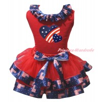 American's Birthday Red Baby Pettitop Patriotic American Lacing & Red Patriotic American Trimmed Newborn & Patriotic American Heart Painting NG2492