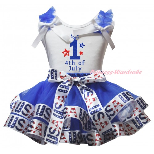 American's Birthday White Baby Pettitop  Blue Ruffles White Bows & Blue White USA Trimmed Newborn Pettiskirt & My 1st 4th Of July Painting NG2541