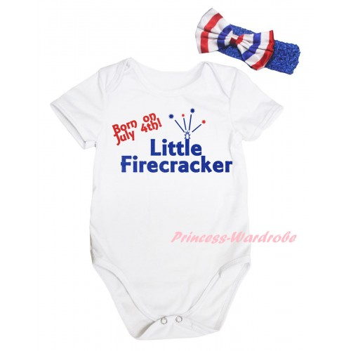 American's Birthday White Baby Jumpsuit & Born On July 4th Little Firecracker Painting & Blue Headband Bow TH946