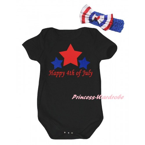 American's Birthday Black Baby Jumpsuit & Happy 4th Of July Painting & Blue Headband Bow TH951