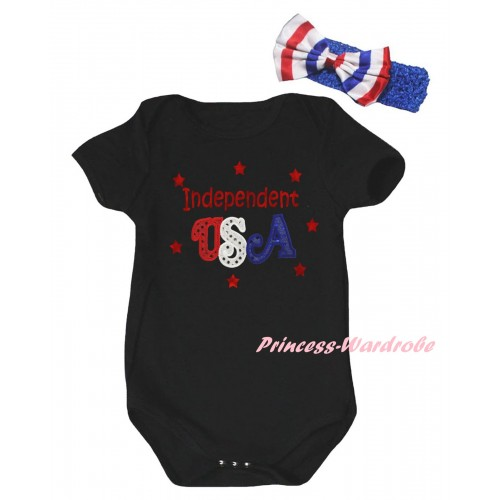American's Birthday Black Baby Jumpsuit & Sparkle Red Independent USA Print  & Blue Headband Bow TH955