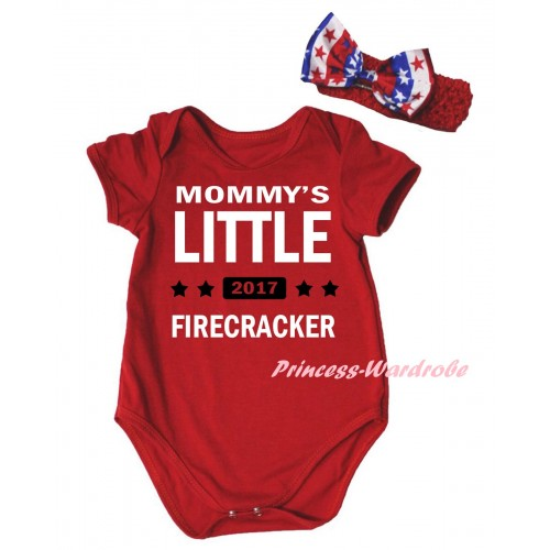 American's Birthday Red Baby Jumpsuit & Mommy's Little 2017 Firecracker Painting & Red Headband Bow TH957