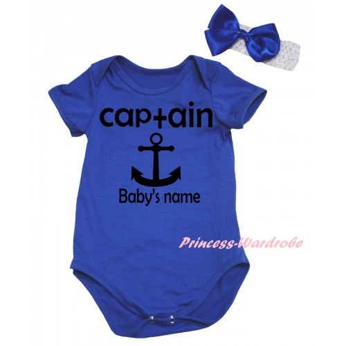 Royal Blue Baby Jumpsuit & Black Captain Anchor Baby's Name Painting & White Headband Bow TH961