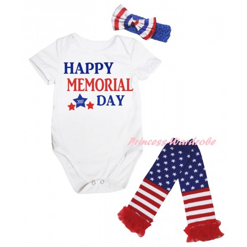 American's Birthday White Baby Jumpsuit & Happy Memorial Day Painting & Blue Headband Bow & Warmers Leggings Set TH975
