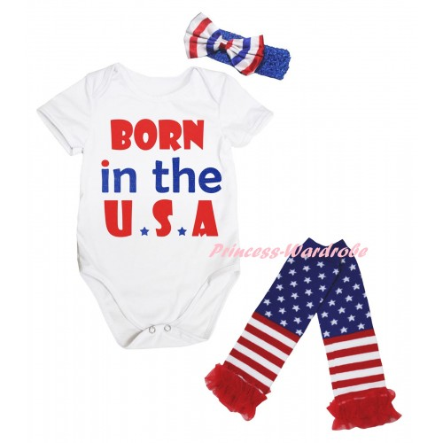American's Birthday White Baby Jumpsuit & Born In The U.S.A Painting & Blue Headband Bow & Warmers Leggings Set TH977