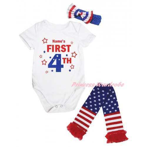 American's Birthday White Baby Jumpsuit & Name's First 4th Painting & Blue Headband Bow & Warmers Leggings Set TH978