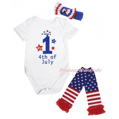 American's Birthday White Baby Jumpsuit & My 1st 4th Of July Painting & Blue Headband Bow & Warmers Leggings Set TH979