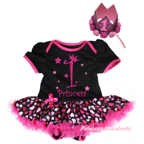 Black Baby Bodysuit Hot Pink Heart Pettiskirt & 1st Princess Painting & Glitter Rose Floral Pink Crown Headband JS6653