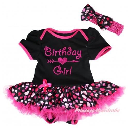 Black Baby Bodysuit Hot Pink Heart Pettiskirt & Birthday Girl Painting JS6654