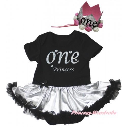Black Baby Bodysuit Silver Black Pettiskirt & One Princess Painting & Glitter Rose Floral Grey Crown Headband JS6690