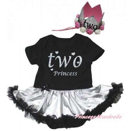Black Baby Bodysuit Silver Black Pettiskirt & Two Princess Painting & Glitter Rose Floral Grey Crown Headband JS6691