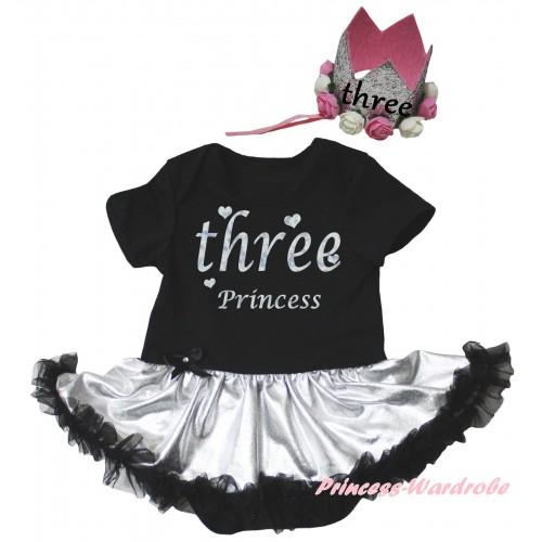 Black Baby Bodysuit Silver Black Pettiskirt & Three Princess Painting & Glitter Rose Floral Grey Crown Headband JS6692