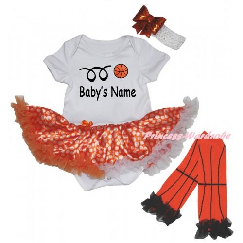 White Baby Bodysuit Orange White Dots Pettiskirt & Basketball Baby's Name Painting & Warmers Leggings JS6723