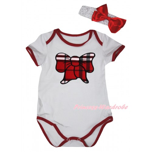 White Red Piping Baby Jumpsuit & Red Black Checked Butterfly Print & Headband TH1036