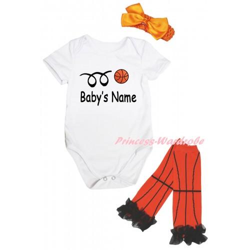 White Baby Jumpsuit & Baby's Name Basketball Painting & Orange Headband Bow & Black Ruffles Orange Basketball Leg Warmer Set TH1047