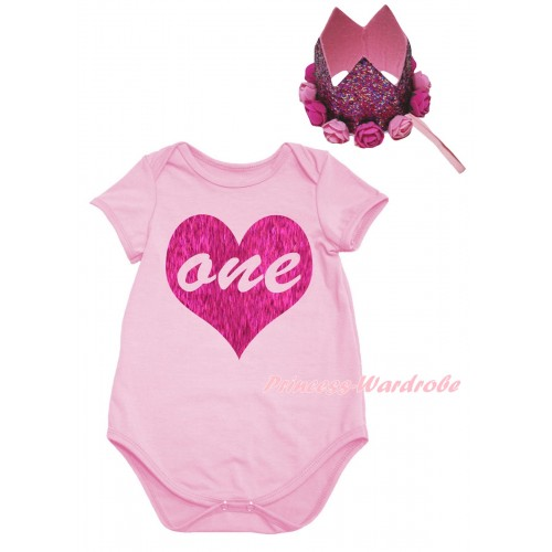 Light Pink Baby Jumpsuit & One Heart Painting & Glitter Rose Floral Pink Crown Headband TH988