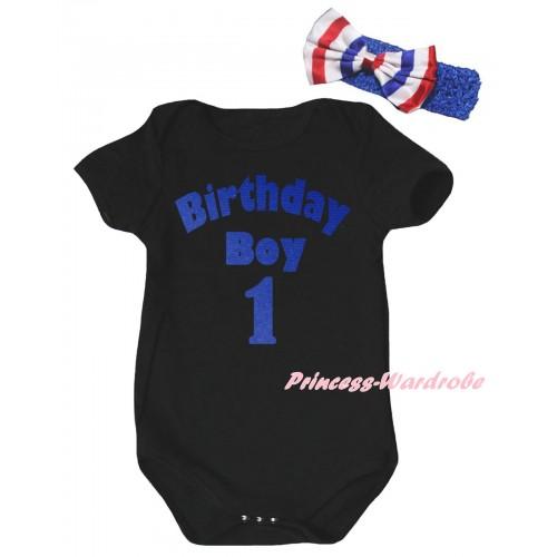 Black Baby Jumpsuit & Birthday Boy One Painting & Blue Headband Bow TH995