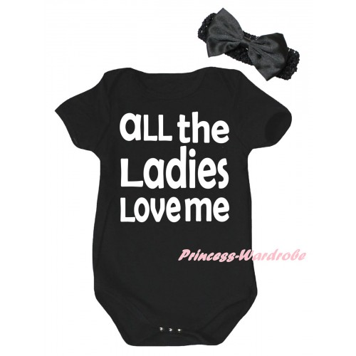 Black Baby Jumpsuit & All The Ladies Love Me Painting & Black Headband Bow TH997