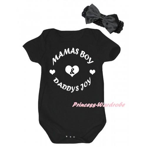 Black Baby Jumpsuit & Mamas Boy And Daddys Joy Painting & Black Headband Bow TH998
