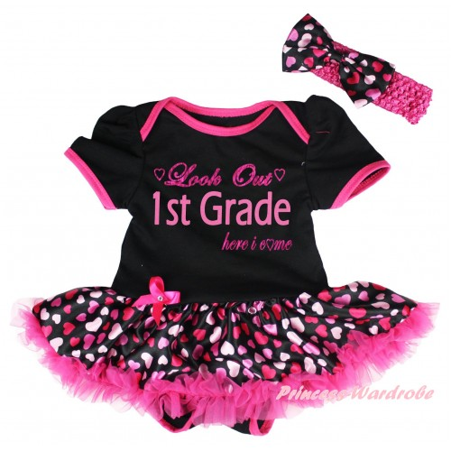 Black Baby Bodysuit Hot Pink Heart Pettiskirt & Look Out 1st Grade Here I Come Painting JS6729
