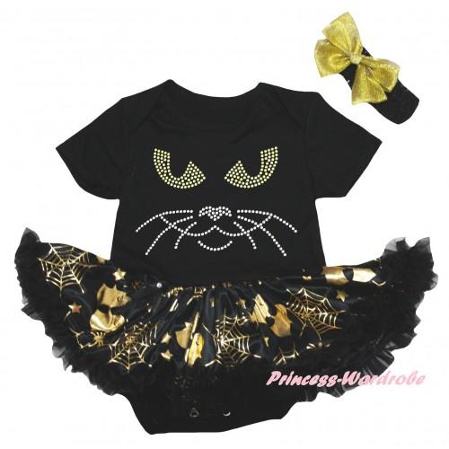 Halloween Black Baby Bodysuit Gold Ghost Spider Web Pettiskirt & Sparkle Rhinestone Cat Face Print JS6741