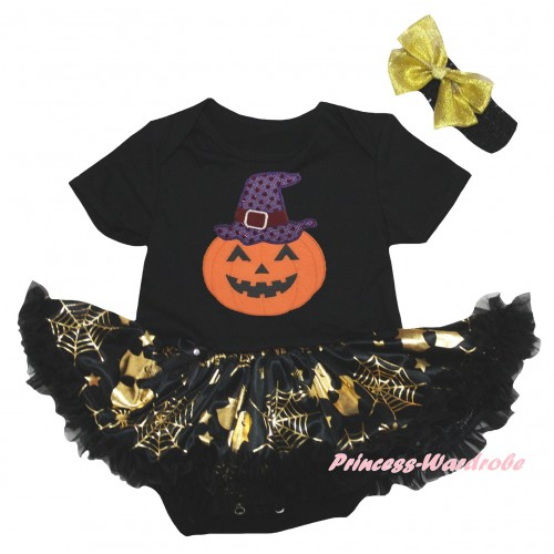 Halloween Black Baby Bodysuit Gold Ghost Spider Web Pettiskirt & Halloween Pumpkins Print JS6742