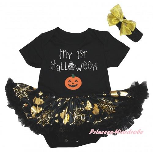 Halloween Black Baby Bodysuit Gold Ghost Spider Web Pettiskirt & My 1st Halloween Pumpkins Print JS6743