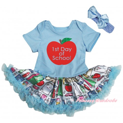 Light Blue Baby Bodysuit Light Blue Stationery Pettiskirt & 1st Day Of School Painting JS6771