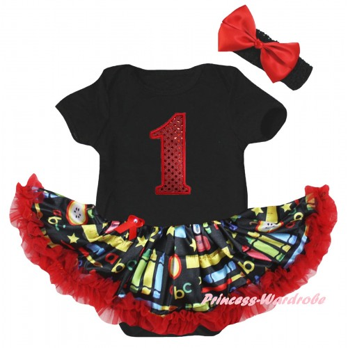 Black Baby Bodysuit Red Stationery Pettiskirt & 1st Red Sequins Birthday Number Print JS6780