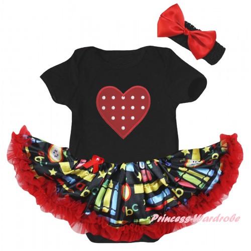 Black Baby Bodysuit Red Stationery Pettiskirt & Red White Dots Heart Print JS6781