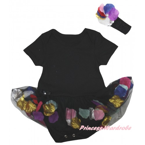 Black Baby Bodysuit Black Petals Flowers Pettiskirt JS6788