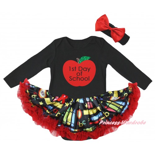 Black Long Sleeve Baby Bodysuit Red Stationery Pettiskirt & 1st Day Of School Painting JS6860